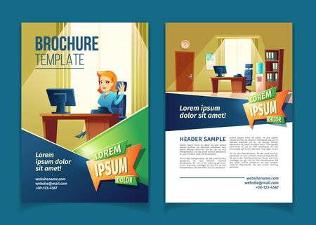 Vector brochure template with cartoon illustration of office with secretary. Reception desk with manager on booklet with information, website links. Poster with lobby for customers, pamphlet. Ilustração