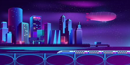 Vector concept background with night city illuminated with neon glowing lights. Futuristic cityscape in blue and violet colors, panorama with modern buildings, skyscrapers on waterfront, urban skyline Çizim