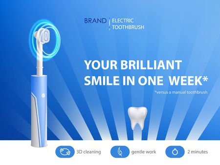 Vector 3d realistic toothbrush on ad poster. Promo banner with hygiene product. Dentist equipment, modern electric technology with ultrasound. Fiber setae, bristles and gum. Oral cleaning, prophylaxis