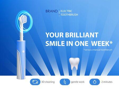Vector cepillo de dientes realista 3d en cartel publicitario. Banner promocional con producto de higiene. Equipo de dentista, moderna tecnología eléctrica con ultrasonido. Setas de fibra, cerdas y chicle. Limpieza bucal, profilaxis