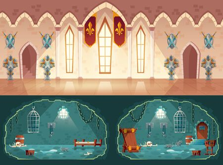 Vector set of cartoon game backgrounds, hall in medieval castle or ballroom with gobelins, knight guards. Empty prison cell, interior with shackles on stone walls, pillory, bunks and hanging cages