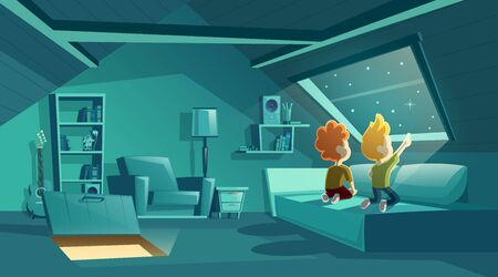 Vector attic interior at night with two kids watching for stars, cartoon room with furniture, sofa with pillows in moonlight. Place for children under roof. Architecture background of garret, mansarda