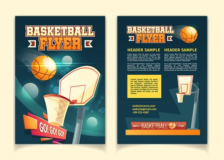 Vector cartoon background with flyers to invite on basketball game. Booklets with court, sports arena in lights of spotlights. Brochure with competition, championship isolated on white backdrop. Illusztráció