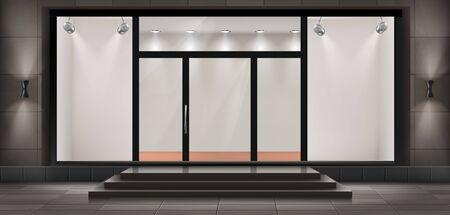 Illustration vectorielle de vitrine avec marches et porte d'entrée, vitrine éclairée en verre pour présentations et expositions de musée. Grande vitrine, boutique de mode vide ou salle d'exposition avec des lumières Vecteurs