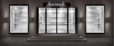 Vector concept background, boutique shop facade with signboard. Storefront with brick wall, entrance with large glass door and empty illuminated showcases with white shelves, realistic illustration Ilustracja