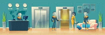 Vector cartoon background of hotel reception. Robot manager, receptionist with Artificial Intelligence behind the desk, guest with baggage at hall. Modern technology. Lobby, foyer with smart porters.