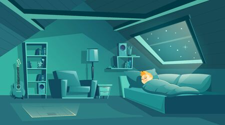 Vector cartoon attic room at night with boy sleeping on sofa, modern loft apartment under wooden roof. Bedroom for children, cozy cockloft with furniture. Interior background of garret, mansard Ilustrace