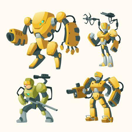 Caricature de vecteur sertie d'androïdes, soldats humains dans des exosquelettes de combat robotique avec des fusils isolés sur fond. Robot de combat avec arme, humanoïdes cyborg. Personnages pour jeux informatiques