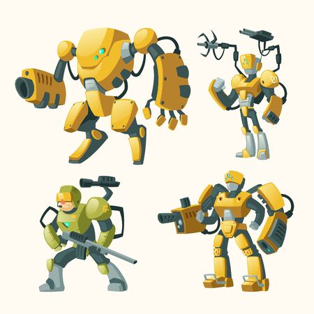 Vector cartoon set with androids, human soldiers in robotic combat exoskeletons with guns isolated on background. Battle robot with weapon, cyborg humanoids. Characters for computer games Ilustracja