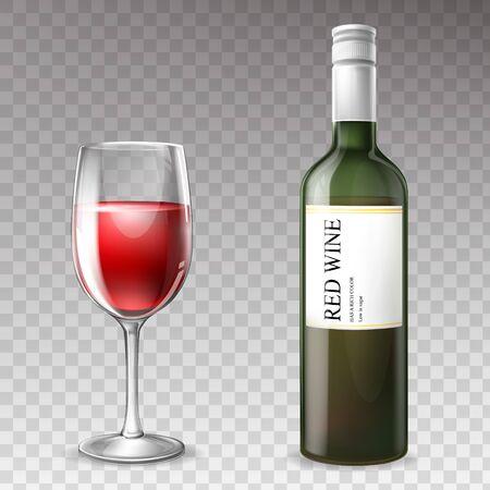 Wektor 3d realistyczne butelki wina z lampką, przezroczyste szkło z etykietą, biały korek. Kubek z czerwonym płynnym napojem, napój alkoholowy z cieniem na białym tle. Projekt produktu winogronowego. Ilustracje wektorowe