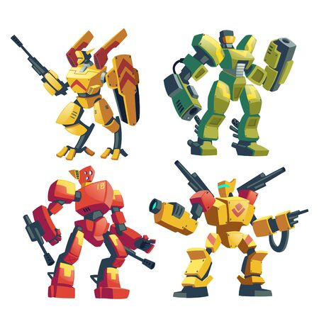 Vector cartoon set with armed transformers, human soldiers in robotic combat exoskeletons with guns isolated on background. Battle robots with weapon, cyborg humanoids. Characters for computer games