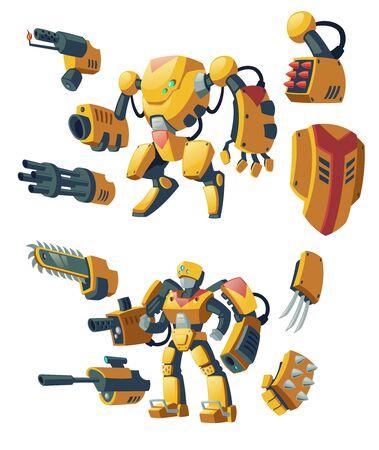 Androïdes de dessin animé de vecteur, soldats humains dans des exosquelettes de combat robotique avec des fusils isolés sur fond. Combattez des robots avec diverses armes, des humanoïdes cyborgs. Personnages pour jeux informatiques