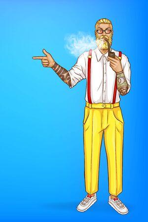 Homme blond de vecteur pop art avec barbe et pipe, boucle d'oreille en pantalon jaune et lunettes. Guy avec des points de tatouage avec le doigt lors des ventes, des remises. Caractère isolé sur fond bleu pour poster