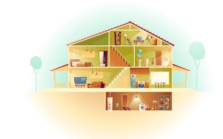 Vektorhausinnenraum im Querschnitt mit Keller und Dachboden, mehrstöckiges Privatgebäude der Karikatur. Dachboden, Möbel im Wohnzimmer, TV. Wäsche und Lagerung im Keller. Architektur-Hintergrund.