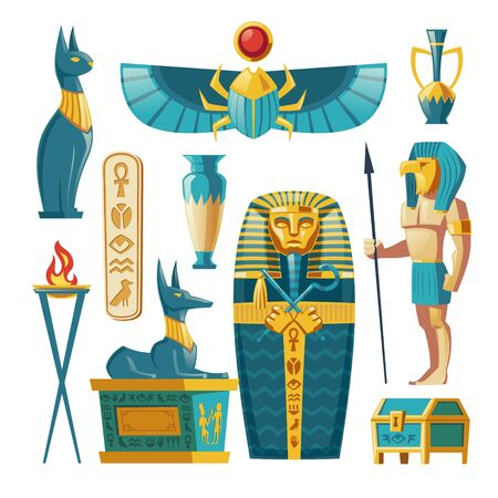 Vector Egyptian set - pharaoh sarcophagus, ancient gods and other symbols of culture. Cartoon collection of tomb, pyramid objects on white background. Anubis, Bastet sculptures, hieroglyphs and scarab