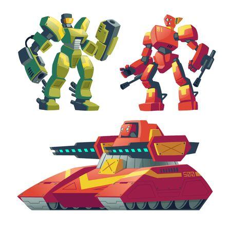 Robots de combat de dessin animé de vecteur avec réservoir rouge. Combattez les androïdes avec intelligence artificielle, véhicule militaire isolé sur fond blanc pour les jeux. Soldats futuristes, jouets robotiques.