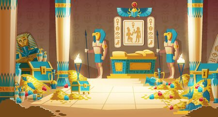 Egypt pharaoh tomb or treasury cartoon vector with warriors in masks, armed spears, standing near royal golden sarcophagus in ancient crypt full of gold coins, precious stones and mysterious artifacts