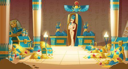Tomba egizia vettoriale - sarcofago del faraone con mummia, tesoro e altri simboli della cultura. Priorità bassa del fumetto dell'antica piramide con oro. Anubi, sculture Bastet, geroglifici e scarabei.