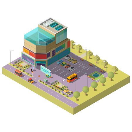 Vector 3d isometric shopping center with parking area. Multistorey modern building with place for different cars, bus stop. Supermarket, mall with glass shop windows. Architecture, cityscape concept. Illusztráció