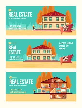 New house purchasing cartoon vector ad banner set with cottage facade and rooms cross section plan illustration. Turnkey housing project offer. Real estate agency, construction company promo flyer
