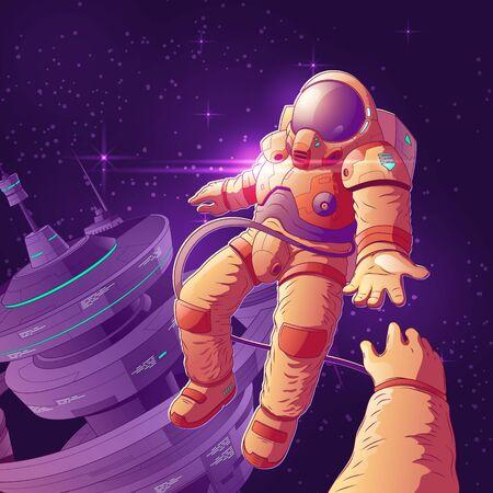 Pareja de turistas espaciales futuros en concepto de vector de dibujos animados de órbita con astronauta en traje espacial futurista volando en ingravidez entre estrellas cerca de la nave, dando la mano a la ilustración de colega o amigo Ilustración de vector