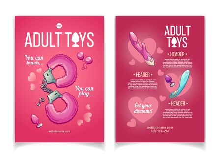 Adult toys cartoon vector advertising brochure or flyer template with fluffy handcuff, vibrators and butt plugs illustrations. Sex shop assortment promo booklet. Erotic role play accessories poster