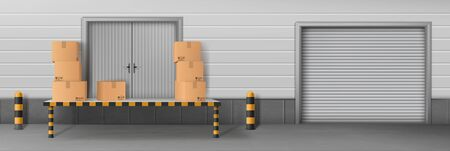 Self-storage business facility, delivery company warehouse, store rear entrance for cargo unloading 3d realistic vector with closed roll gates and cardboard boxes, parcels on loading ramp illustration