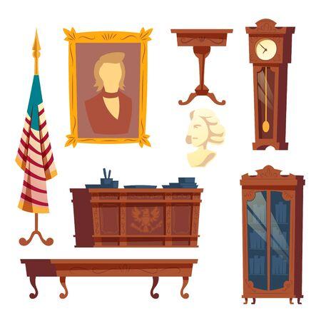 Colección de dibujos animados de vector de muebles de la casa blanca, oficina oval. Gabinete de un presidente de los Estados Unidos de América. Muebles de madera, conjunto interior clásico aislado sobre fondo blanco.
