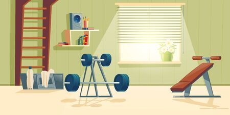 Vector cartoon background of home gym with window. Morning exercises with barbell, climbing frame and metal dumbbell. Sport interior with record player, bottle and towel. Athletic, healthy concept. Illustration