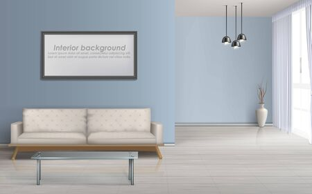 Modern living room minimalistic design spacious interior realistic vector mockup with laminate flooring, glass coffee table near comfortable sofa, blank photo or paintings frame on wall illustration