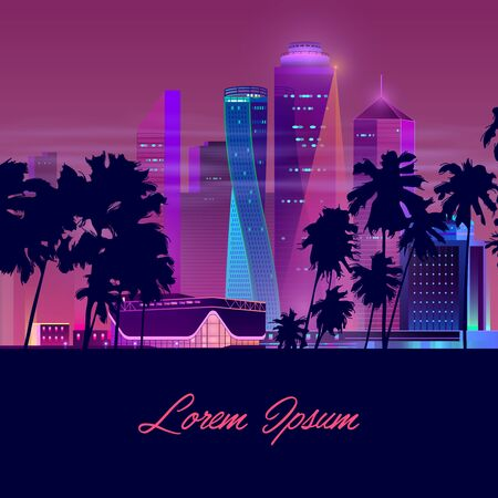 Metropolis in tropics cartoon vector banner in neon colors. Resort city nightlife concept with illuminated skyscrapers, mall, shopping center or casino building, palm trees silhouettes illustration Vetores