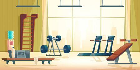 Modernes Sportclub-Fitnessstudio-Cartoon-Vektor-Interieur mit Laufband, Bauchbank, Langhantel und Hantel auf Stand in geräumiger Raumillustration Moderne Fitnessgeräte. Aktiver und gesunder Lebensstil