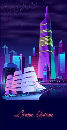 Metrópolis vida nocturna colores neón dibujos animados vector banner vertical o cartel con edificios de rascacielos de arquitectura futurista iluminada, fragata antigua o yate navegando en la bahía en la ilustración de la noche