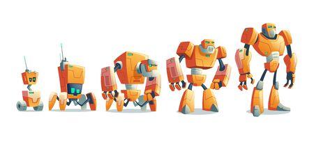 Evoluzione tecnologica dei robot dal droide a ruote primitivo sopra androide a quattro zampe all'illustrazione di vettore del fumetto umanoide cyborg isolato su priorità bassa bianca. Intelligenza artificiale, macchina aliena