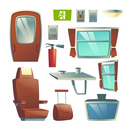 Railway passenger train wagon saloon interior design elements cartoon vector set with seat, door, window, table, TV screen, extinguisher, emergency exit sign illustration isolated on white background