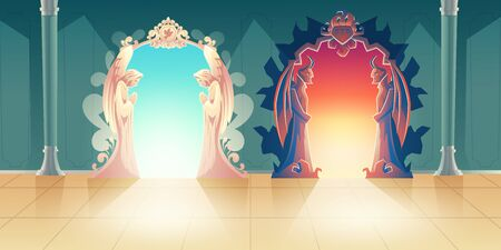 Heaven and hell gates cartoon vector with humbly praying angels and scary horned demons meeting guests at entrance illustration. Mystical portal to other side. Afterlife choice and death concept