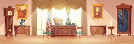 White House oval cabinet interior cartoon vector with vintage work desk and furniture, national flag, paintings on wall illustration. United States of America President workplace in official residence 向量圖像