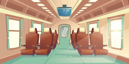 Vector illustration with a cabin of a train, seats with brown leather and TV. Bright salon with an aisle in express, empty business places. Comfortable armchairs in railway carriage for journey, trip