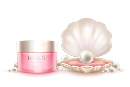 Vector 3d realistic advertising mock up - daily cream in pink jar, luxury cosmetics. Moisturizing essence with pearl in shell for poster, banner. Skincare, hygiene product isolated on white background Vektoros illusztráció