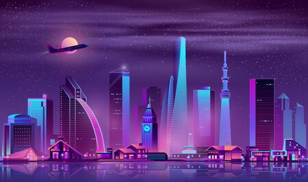 Metropolis night cityscape cartoon vector. Skyscrapers, old town buildings and one-storey cottages on river shore neon colors illustration. Diversity of modern city architecture, real estate property