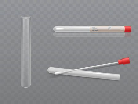 Vector medical set for analysis - q-tip with cotton swab and test tube, transparent glass capsule. Individual hygiene toiletries in plastic box with data for hospital. Health care concept. Illustration