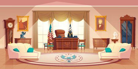 Armoire ovale de vecteur dans la maison blanche. Intérieur de dessin animé avec mobilier - bureau pour le travail, canapé pour le repos. Drapeau national, tapis. Lieu de travail pour le président des États-Unis d'Amérique en résidence officielle