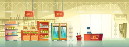 Vector background of empty supermarket at morning, lines with merchandise. Place for retail, mall interior with fridges, stands and shelves. Grocery store, shop with signboard and pointer inside. Illustration