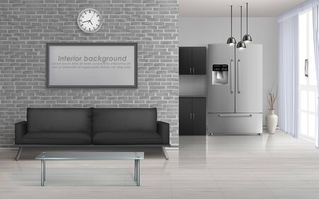 Home living room, studio kitchen spacious interior in minimalism or loft style design 3d realistic vector with glass table and sofa, blank painting frame on brick wall, french door fridge illustration