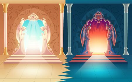 Vector illustration with heaven and hell gates. Decoration with humbly praying angels and scary horned demons on entrance to afterlife, purgatory.Mystical portal to other side. Death, religion concept