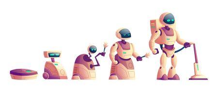 Evoluzione vettoriale dei robot, rivoluzione tecnologica da primitivo aspirapolvere con ruote a cyborg umanoide. Cartoon raccolta di elettrodomestici isolati su sfondo bianco.Intelligenza artificiale Vettoriali
