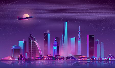 Modern metropolis night landscape with illuminated vintage and futuristic architecture buildings in city business center, luxury cottages or villas on quay, airliner flying in sky neon cartoon vector