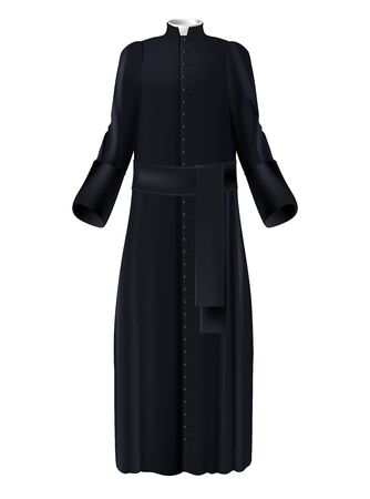 Christian priest cleric black cassock with white collar and belt realistic vector isolated on white background. Catholic, lutheran, anglican priesthood, missionary or seminarian vestment illustration Vettoriali