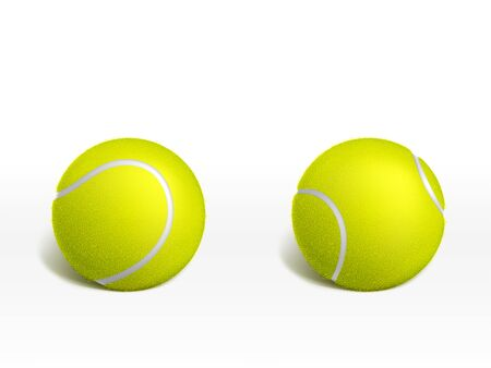 Two new tennis balls lying on white surface 3d realistic vector illustration. Racket sport inventory or equipment icon. Tennis tournament, sport game competition or championship ad design element
