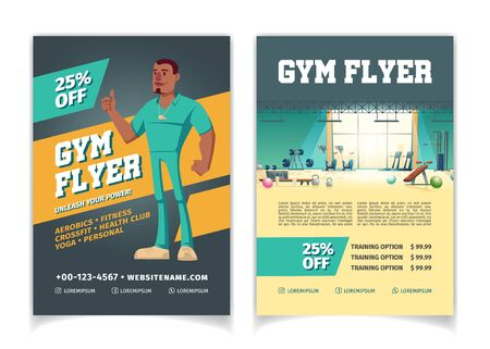 Sport club, fitness center, bodybuilding gym cartoon vector price off, discounts advertising flyer pages template. Modern gym interior with fitness equipment and couch shoving thumbs up illustration Illustration
